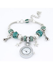 Religious Green Elements Decorated Simple Design Alloy Ladies Watches