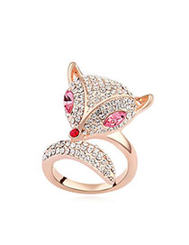 Stainless Plum Red & Rose Gold Diamond Decorated Fox Shape Design Alloy Crystal Rings