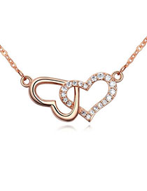 Shining White & Rose Gold Heart Shape Decorated Simple Design Zircon Crystal Necklaces