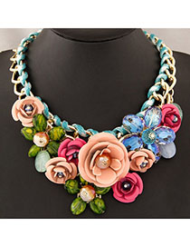 Little White Multilayer Gemstone Decorated Design Alloy Bib Necklaces