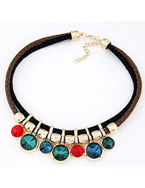 Screw Multicolor Diamond Decorated Double Layer Design Alloy Bib Necklaces