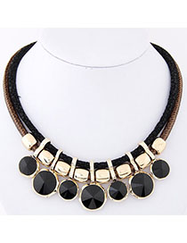 Athena Black Gemstone Decorated Double Layer Design Alloy Bib Necklaces