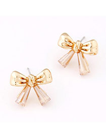 Marvelous Gold Color Gemstone Decorated Bowknot Design Alloy Stud Earrings