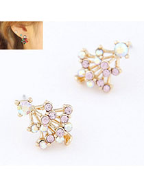 Quilted Light Purple Diamond Decorated Christmas Tree Shape Design Alloy Stud Earrings