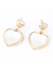 Catholic White Heart Shape Decorated Simple Design Alloy Stud Earrings