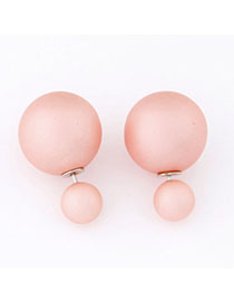Monogramme Pink Pure Color Round Shape Decorated Simple Design Alloy Stud Earrings