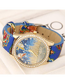 Travel Blue Diamond Decorated Dragonfly Pattern Design Alloy Ladies Watches