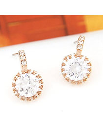 Teen Gold Color Diamond Decorated Simple Design Alloy Stud Earrings