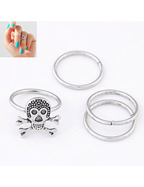 Street Silver Color Skull Shape Decorated Simple Design