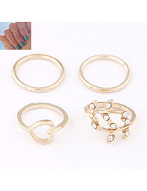 Puppy Gold Color Diamond Decorated Heart Shape Design Alloy Korean Rings