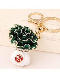 Discount Green Cabbage Shape Decorated Simple Design Alloy Fashion Keychain