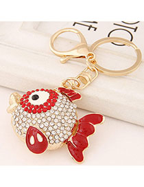 Costume Red Diamond Decorated Fish Shape Design Alloy Fashion Keychain