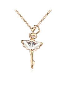 Promise White & Champagne Gold Dancing Girl Shape Decorated Simple Design Alloy Crystal Necklaces
