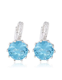 Montgomery Blue Diamond Decorated Simple Design Alloy Crystal Earrings