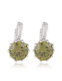 Winding Light Green Diamond Decorated Simple Design Alloy Crystal Earrings