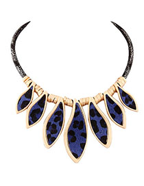 Juniors Blue Leopard Pattern Decorated Simple Design Alloy Fashion Necklaces