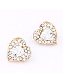 Reflective Gold Color Diamond Decorated Heart Shape Design Alloy Stud Earrings