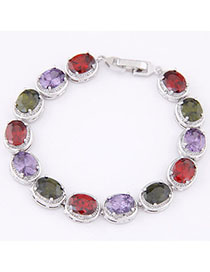 Affordable Multicolor Diamond Decorated Oval Shape Design Zircon Korean Fashion Bracelet