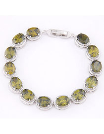 Postal Light Green Diamond Decorated Oval Shape Design Zircon Korean Fashion Bracelet