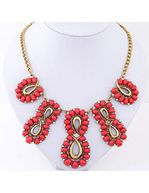 Marvelous Plum Red Gemstone Decprated Hollow Out Design Alloy Fashion Necklaces