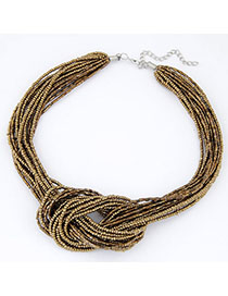 Stationery Gold Color Beads Decorated Multilayer Design Alloy Korean Necklaces