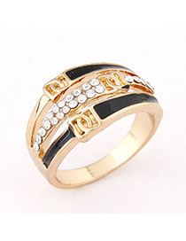 Waltons Black Diamond Decorated Simple Design Alloy Korean Rings