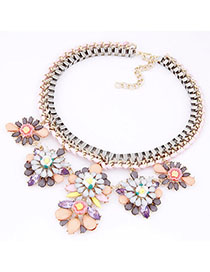 Fashion Multi-color Flower Decorated Hollow Out Design Necklace