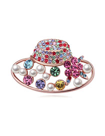 Headrest Multicolor & Rose Gold Diamond Decorated Hat Shape Design Alloy Crystal Brooches