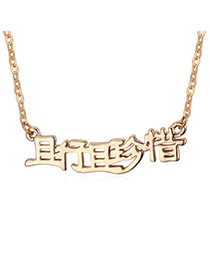 Promise Gold Color Pure Color Simple Design Alloy Crystal Necklaces