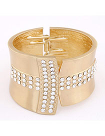 Noble Gold Color Diamond Decorated Wide Design Alloy Fashion Bangles