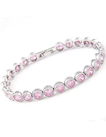 Caspari Pink Diamond Decorated Simple Design Zircon Fashion Bracelets