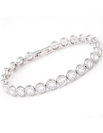 Waist White Diamond Decorated Simple Design Zircon Fashion Bracelets