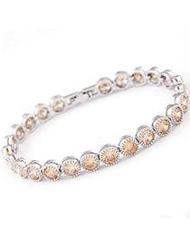 Evil Champagne Color Diamond Decorated Simple Design Zircon Fashion Bracelets