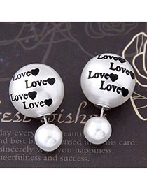 Diabetic Silver Color Letter Love Pattern Decorated Simple Design Alloy Stud Earrings