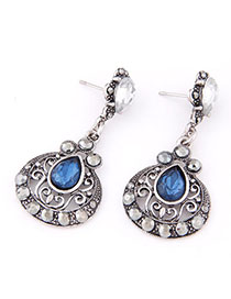 Limited Blue Diamond Decorated Waterdrop Shape Design Alloy Stud Earrings
