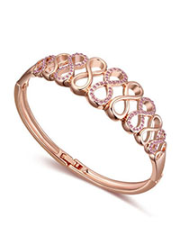 2012 Light Plum Red & Rose Gold Diamond Decorated Eight Shape Design Alloy Crystal Bracelets