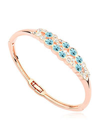 Security Navy Blue & Rose Gold Diamond Decorated Simple Design Alloy Crystal Bracelets