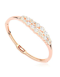 Masculine White & Rose Gold Diamond Decorated Simple Design Alloy Crystal Bracelets