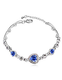 Petite Blue Diamond Decorated Heart Shape Design Alloy Crystal Bracelets