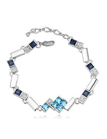 Magic Navy Blue Diamond Decorated Geometrical Shape Design Alloy Crystal Bracelets