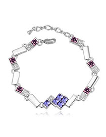 Double Pinkish Purple Diamond Decorated Geometrical Shape Design Alloy Crystal Bracelets