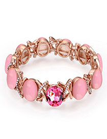 Pentacle Pink Gemstone Decorated Oval Shape Design Alloy Crystal Bracelets