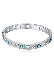 Dancing Navy Blue Diamond Decorated Simple Design Alloy Crystal Bracelets