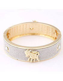Connor Silver Color Sheep Shape Decorated Simple Design Alloy Fashion Bangles