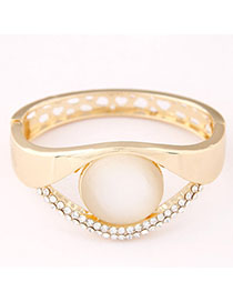 Parker Gold Color Diamond Decorated Eye Shape Design Alloy Fashion Bangles