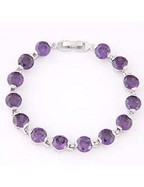 Latest Purple Diamond Decorated Simple Design Zircon Fashion Bracelets