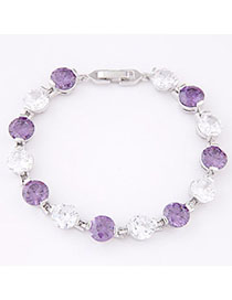 Sequined White & Purple Diamond Decorated Simple Design Zircon Fashion Bracelets
