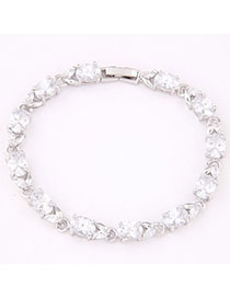 Cheap White Gemstone Decorated Oval Shape Design Zircon Fashion Bracelets
