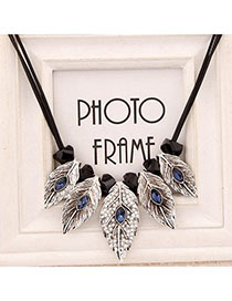 Invitation Dark Blue Diamond Decorated Leaf Shape Design Alloy Bib Necklaces