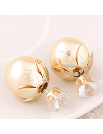 2011 Gold Color Round Shape Decorated Simple Design Alloy Stud Earrings